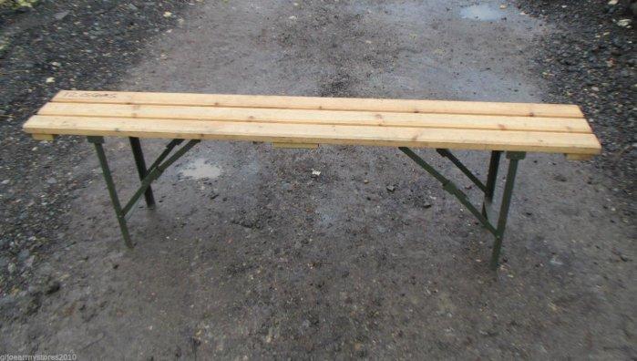British Army 6ft Wooden Folding Bench General Surplus